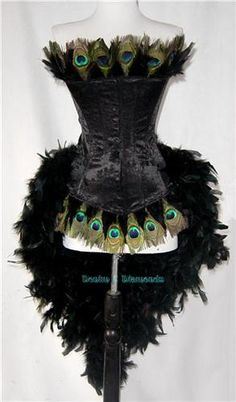Black Peacock Eye Feather Burlesque Costume - Fantasymasquerades
