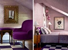 I like the gold mirror, the purple, and the angle of bedroom in the second picture. What an uplifting and springy room scheme.