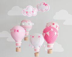 Hot Air Balloon Baby Mobiles, Whimsical Nursery Decor by sunshineandvodka Travel Theme Nursery, Nursery Themes, Nursery Decor, Whimsical Nursery, Coordinating Fabrics, 1st Birthday Girls, Travel Themes, Girl Shower, Hot Air Balloon