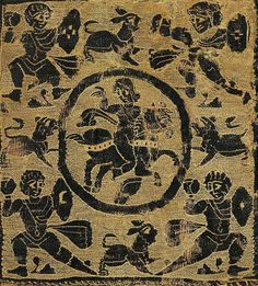 Fatimid rider and four warriors Panel of woven Coptic textile, a rider and four warriors. Fatimid period, 11th Century. Museum of Islamic Art, Cairo, Egypt. Fatimid Illustrations of Soldiers and Hunters, 10th - 12th Centuries