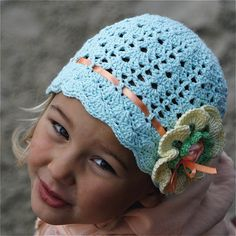 Crochet Cotton Lace Hat with Flower for Children (4-8 yo)
