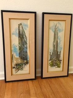 Mid-Century Modern New York City Landmark Watercolor Lithographs RCA Building (Rockefeller) United Nations Signed by Newhouse by VintageJoyBistro on Etsy