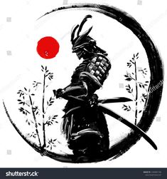Illustration of a Japanese warrior in an ink circle with a red sun ( ) - Samurai Japanese Warrior Tattoo, Japanese Tattoo Women, Japanese Tattoo Symbols, Japanese Tattoo Art, Japanese Tattoo Designs, Japanese Sleeve Tattoos, Warrior In Japanese, Arte Ninja, Ninja Kunst