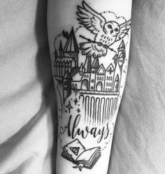 Harry Potter And The Cursed Child Release Date because Harry Potter Cast Lockhart Half Sleeve Tattoos Drawings, Half Sleeve Tattoos Designs, Tattoo Designs And Meanings, Sleeve Tattoos For Women, Pretty Tattoos, Cute Tattoos, Small Tattoos, Tattoos Pics, Arrow Tattoos