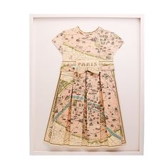 Hand Folded Paris Map Dress Nursery Decor - Every nursery needs something custom and we think this is the perfect piece for a sweet baby girls room. #PNshop