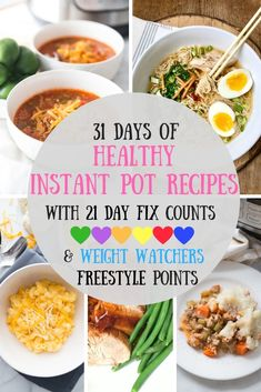Looking for Healthy Instant Pot Recipes? Look no further - I have a whole month's worth of Healthy Instant Pot Dinners for you with 21 Day Fix Container Counts AND Weight Watchers Freestyle points! Instant Pot Pressure Cooker, Pressure Cooker Recipes, Pressure Cooking, Slow Cooker, Pressure Pot, Easy Cooking, Cooking Recipes, Healthy Cooking, Healthy Food