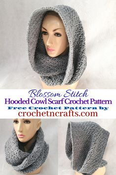 Blossom Stitch Hooded Cowl Scarf Crochet Pattern by . The crochet cowl can be worn as a long scarf, as a hooded cowl, or as a cozy cowl wrapped around the neck. It is easy to adjust in size from child to adult large. Crochet Hooded Cowl, Hooded Scarf Pattern, Crochet Cowl Free Pattern, Crochet Scarves, Crochet Shawl, Knit Crochet, Crochet Patterns, Free Crochet, Scarf Patterns