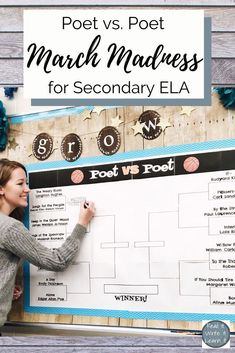 Poetry March Madness for Secondary ELA Poetry March Madness Packet for middle school and high school ELA with brackets, poems, rubrics, short answers, and more! Everything you need to implement poetry March Madness in your classroom. Ela Classroom, Middle School Classroom, English Classroom, Future Classroom, Teaching Poetry, Teaching Writing, Teaching English, Teaching Themes, Middle School Reading