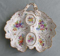 Richard Klemm, Dresden Porcelain (Germany) — Divided Dish (736x690) Dresden Porcelain, Porcelain Ceramics, Cold Porcelain, China Porcelain, Painted Porcelain, Dresden China, China Painting, Antique China, Organic Shapes
