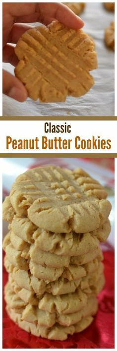 These amazingly delicious and soft Classic Peanut Butter Cookies are a cinch to make. They come together real quick and bake up in about ten minutes.