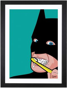 iCanvas Batman-Brush by Gregoire 'Leon' Guillemin (Framed)