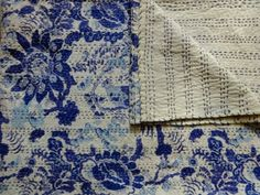 Indigo-Blue-Bird-Print-Handmade-Kantha-Quilt-Twin-Size-Luxury-Bohemian-Bedspread