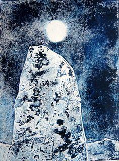 """Saatchi Online Artist: Drusilla Cole; Collagraph, 2012, Printmaking """"Indigo standing stone"""""""