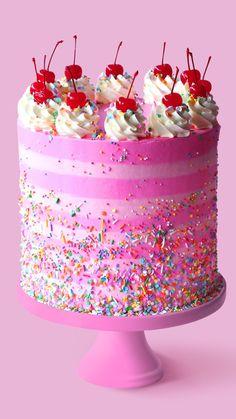 Wonderful Image of Pink Birthday Cake Pink Birthday Cake Strawberry Birthday Cake Recipe Tastemade Strawberry Birthday Cake, Pink Birthday Cakes, Birthday Cake Recipes, Birthday Cake Video, Pink Happy Birthday, Birthday Cake Pictures, Homemade Birthday, Birthday Stuff, It's Your Birthday