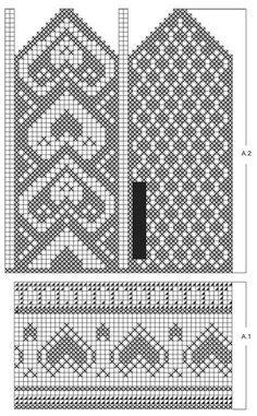 Bilderesultat for strikke diagram Knitting Charts, Knitting Patterns Free, Free Knitting, Free Pattern, Mittens Pattern, Knit Mittens, Knitting Socks, Fair Isle Pattern, Bead Loom Patterns