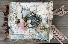 Miranda Edney as Ms Liberty 25 for Discount Paper Crafts making a burlap/canvas mini album; April 2013