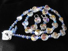SOLD ~SOLD~ SOLD Blue Crystal Bicone Jewellery Set by AnZiPanZDesigns on Etsy #handmade #gifts #necklace #earrings