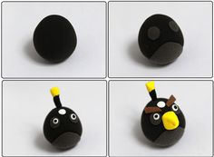 Turorial : How to make Angry Bird in polymer clay / Tutoriel : Réaliser les… Cute Polymer Clay, Polymer Clay Crafts, Diy Clay, Cumpleaños Angry Birds, Festa Angry Birds, Angry Birds Birthday Cake, Fondant Animals, Cake Shapes, Bird Cakes