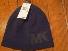 Michael Kors MK Logo Knit Midnight Navy Beanie Hat for sale online Knit Hat For Men, Michael Kors Men, Mk Logo, Hats For Sale, Beanie Hats, Blue Grey, Knitted Hats, Skull, Key
