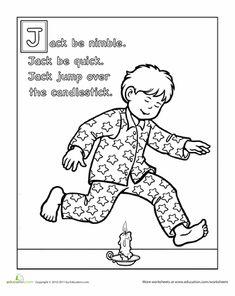 Worksheets: Jack Be Nimble Coloring Page