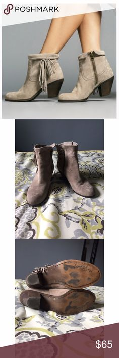 """Sam Eldman Louie Booties Sam Eledman Louie Fringe Booties in taupe suede. Size 11. These booties are soooo comfortable with a 2.5"""" wood block heel and they go with literally everything. Fold them over or leave them up. Some signs of wear, on the inside you can tell they were worn with dark denim. Love the item but not the price? Make me an offer, I can't say yes if you never ask! Sam Edelman Shoes Ankle Boots & Booties"""