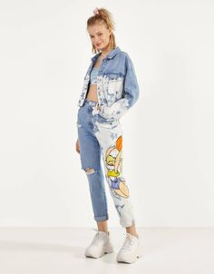 Space Jam x Bershka balloon fit jeans. Discover this and many more items in Bershka with new products every week Space Jam, Jeans Fit, Mom Jeans, Bershka Collection, Lilo And Stitch, Fashion News, Cool Outfits, Denim, My Style