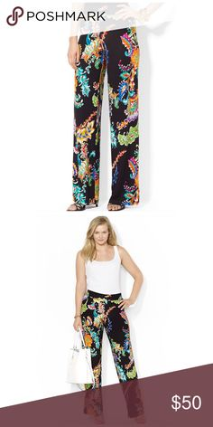"RALPH LAUREN PASLEY PALAZZOS Adorned with a bright paisley print, this ultra-soft pant features a wide-leg silhouette and a comfortable elasticized waist. Elasticized waist. Wide-silhouette. 29"" inseam. 96% rayon. 4% elastane. Hand wash. Imported. Lauren Ralph Lauren Pants Wide Leg"