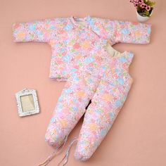 Baby Toddler Children's handmade cotton newborn baby winter thick cotton suit jacket trousers Foot