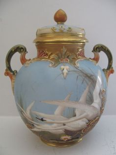 A Rare  Royal Worcester Swan Painted Vase And Cover By C. Baldwyn.