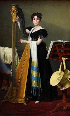"""""""Portrait of Juliette de Villeneuve, niece of Julie et Désirée Clary (Julie, wife to Joseph Bonaparte)"""", 1824, by Jacques-Louis David (French, 1748-1825). Louvre."""