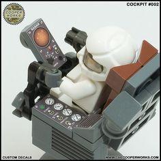 Cockpit_002c | Lego decals by Cooper Works Level up your bri… | Flickr Lego Star Wars, Star Trek, Lego Decals, Minifigures Lego, Instructions Lego, Lego Dragon, Lego Universe, Micro Lego, Lego Ship