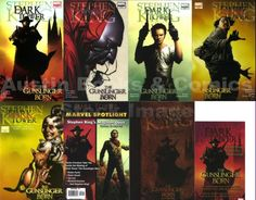 The Dark Tower series by Stephen King, tells the story of Roland Deschain, Mid-World's last gunslinger, who is traveling southeast across Mid-World's post-apocalyptic landscape, searching for the powerful but elusive magical edifice known as The Dark Tower. 1982-2012