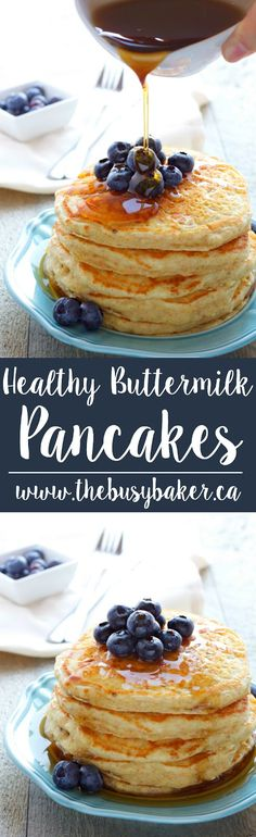 These Healthy Buttermilk Pancakes are the perfect nutritious breakfast for your Easter brunch! Recipe from thebusybaker.ca!