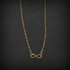 Antique Bronze Infinity Charm Simple Necklace by ReinaJewelers, $18.00