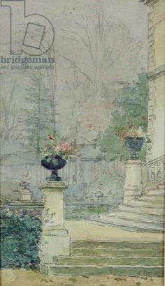 """Henri Rouart - """"The Steps of Les Fourneaux at Melun"""" - pencil and watercolor. Detailed Image, Julie Manet, Melun, Illustration, Any Images, Painting, Historical Images, Art, Art History"""