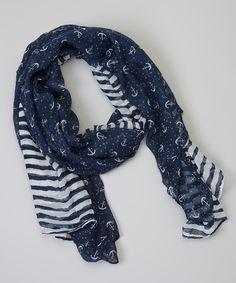 Sweet Indigo Navy Blue Anchor Scarf   zulily