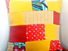 Bright Patchwork Cushion - Eco Friendly Made with reclaimed wool and fabric scraps. https://cherryberry.felt.co.nz