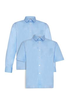 Boys Shirts - Blue (Twin Pack) Non-iron Boys Shirts  Choose twin packs of either 2 x short sleeve or 2 x long sleeve shirts