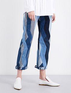 DRIES VAN NOTEN Pisco patchwork straight high-rise jeans