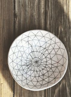 Made to Order// Hand Sketched Geo-Triangle Graphite + White Ceramic Bowl // Black + White Food Safe Bowl // Modern + Decorative Ceramic Bowl