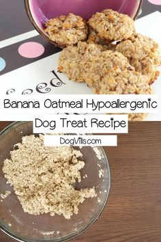 Need a yummy hypoallergenic dog treat recipe that's easy enough for novice bakers to make? Try out banana oatmeal treats! Your pups will love them! Dog Biscuit Recipes, Dog Treat Recipes, Dog Food Recipes, Homemade Dog Treats, Healthy Dog Treats, Doggie Treats, Oatmeal For Dogs, Hypoallergenic Dog Treats, Dog Nutrition