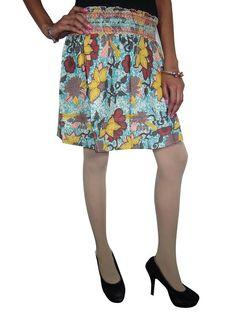 Floral Printed Blue Crinkle Mini Skirt Boho Hippy Gypsy Cotton Skirts