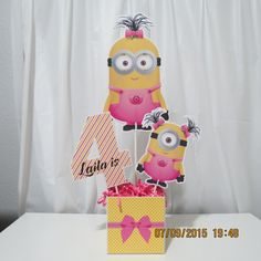 Girl Minion Centerpiece by ScrapbookSolutions on Etsy