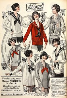 See pictures of vintage to sailor or nautical themed clothing. Learn the history and shop for new retro sailor clothes. Sailor Fashion, 20s Fashion, Fashion History, Look Fashion, Fall Fashion, Fashion Tips, Fashion Trends, 1920 Style, Vintage Mode