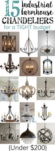 15 Industrial Farmhouse Chandeliers for a Tight Budget. 15 Industrial Farmhouse Chandeliers for a Tight Budget. Contemporary Home Lighting - In the Living Room. living room lighting ideas Click image for more details. Farmhouse Chic, Farmhouse Design, Farmhouse Ideas, Farmhouse Budget, Farmhouse Kitchen Light Fixtures, Farmhouse Dining Room Lighting, Farmhouse Kitchen Lighting, Living Room Light Fixtures, Kitchen Lighting Fixtures