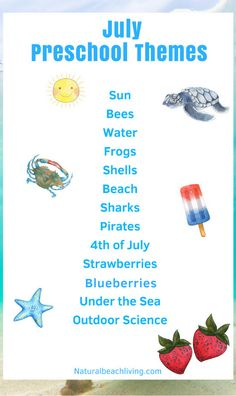 July Preschool Themes with Lesson Plans and Activities, Summer Themes for Preschool, Preschool Activities for Summer hands on learning, Summer Preschool Themes, July activities and summer themes for preschool and Kindergarten summer activities January Preschool Themes, Summer Preschool Activities, Daycare Themes, Preschool Lessons, Preschool Classroom, September Themes, Preschool Education, Spanish Activities, Daycare Crafts
