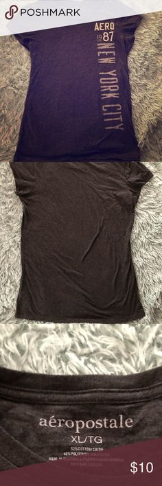 ⚡️Aeropostale⚡️ Charcoal Gray Short Sleeved Tshirt From the Times Square location. Worn once. No flaws or defects. Soft!   PRICE FIRM. 10% off bundles of 4 or more. No trades, sorry!  Smoke free home, but have two furbabies. 1 Aeropostale Tops Tees - Short Sleeve