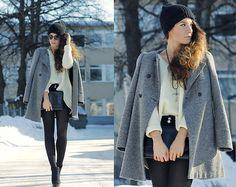 Outi Toivola - Zara Coat, Monki Clutch, H&M Beanie, Zara Pastel Yellow Knit - OUTSHINED