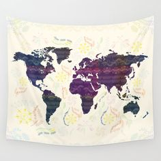World Map tapestry bohemian wall tapestry wall hanging by Famenxt