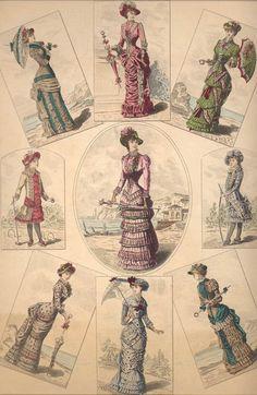 1882 Victorian Original Antique Paris FASHION ILLUSTRATION with Seven BUSTLE Dresses Parasols HATS Hand Colored